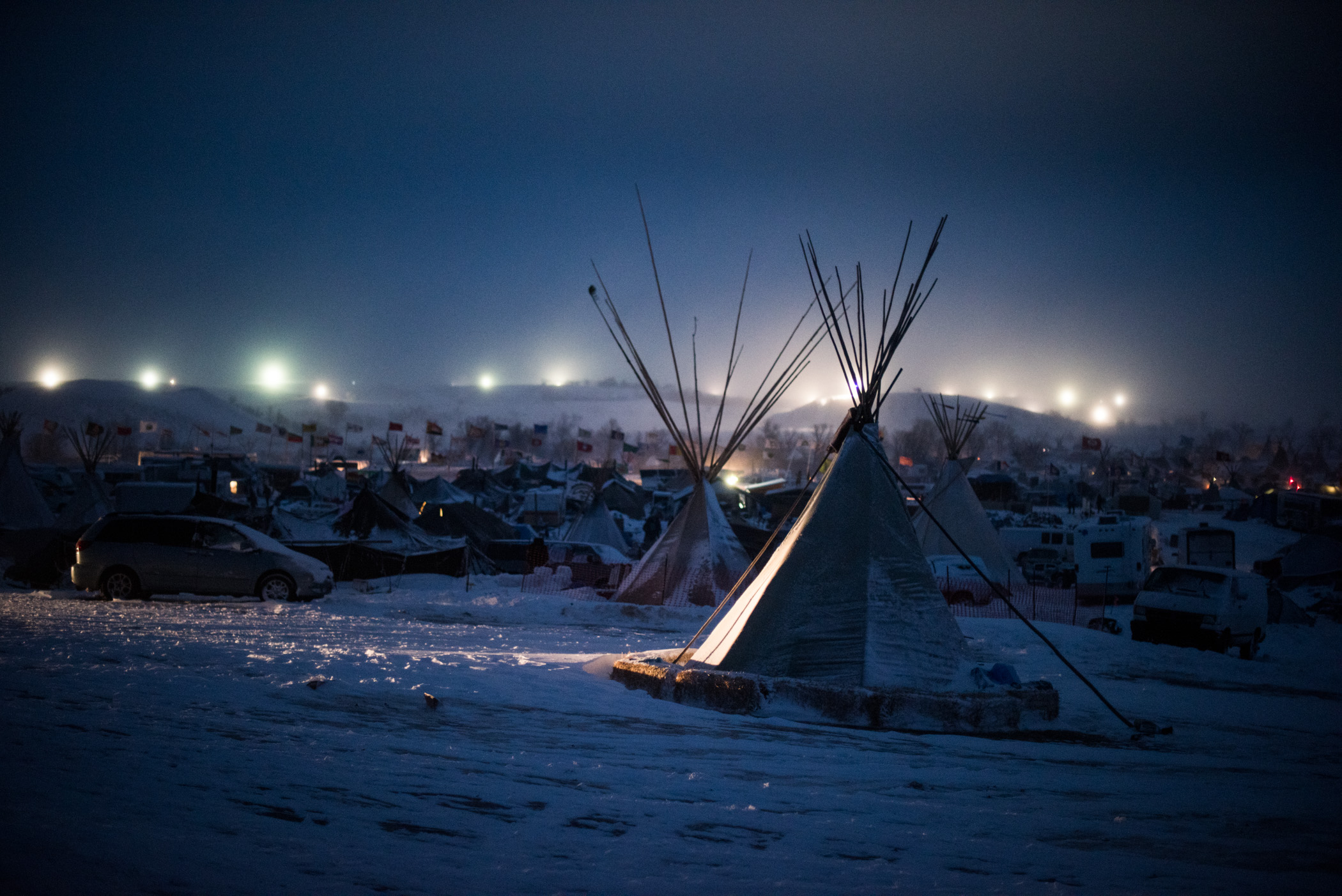 "Russel Albert Daniels, ""Blizzard Night Camp."""