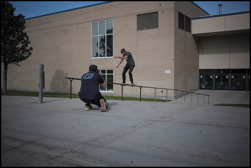 (L-R) Niels Jensen and Levi Faust attempting to get a shot of a Frontside Boardside) Photo: Sam Milianta