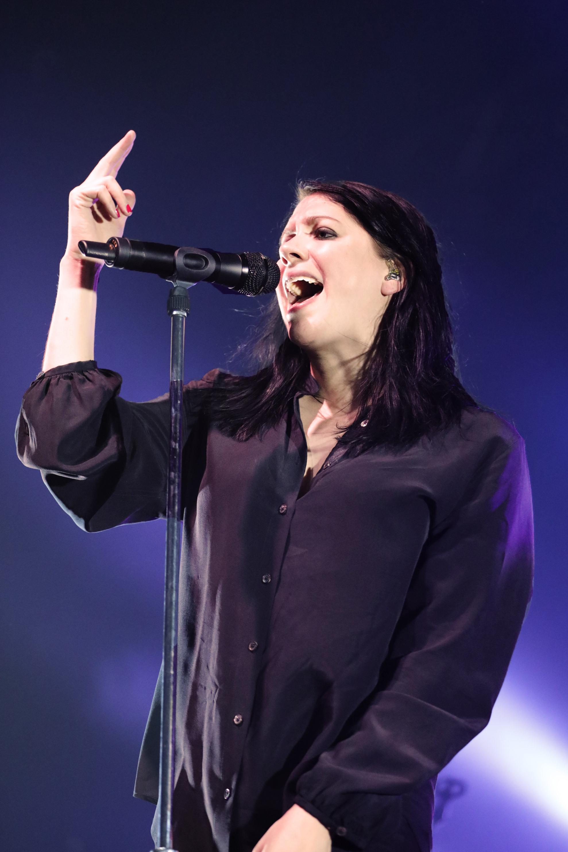 Singer songwriter, K.Flay singing on stage in Salt Lake City.