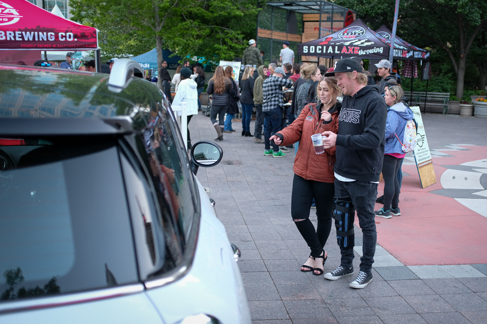 Festival sponsor Mini of Murray took center stage on the plaza right next to Social Axe Throwing's massive line. Photo: John Barkiple