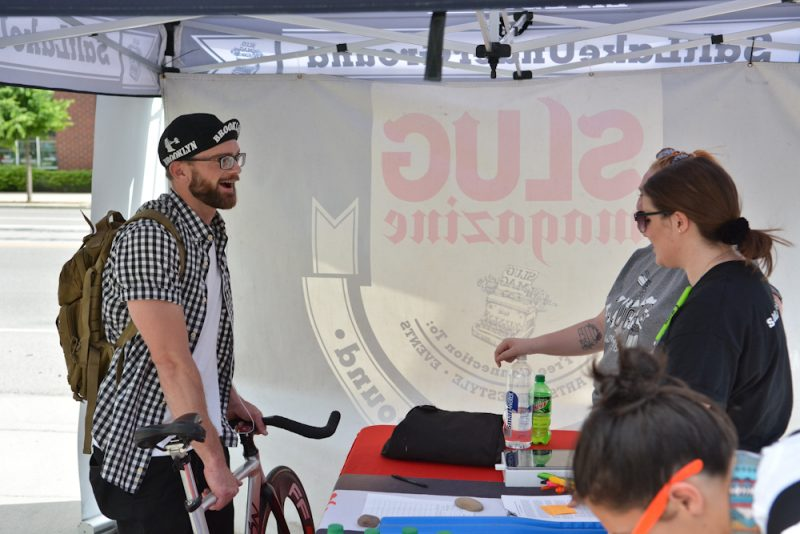 Enthusiastic riders signed up for the race at Saturday Cycles.