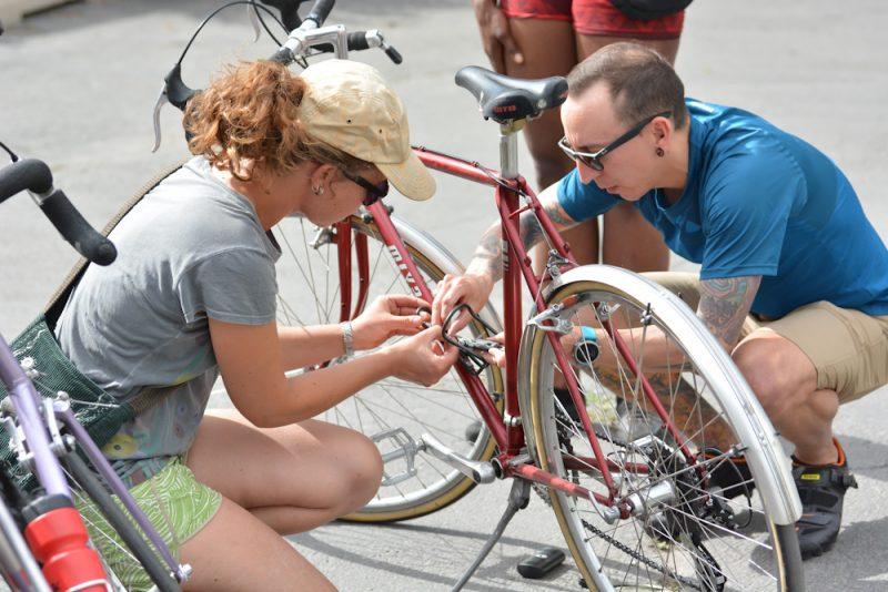 Last-minute bicycle maintenance at Saturday Cycles.