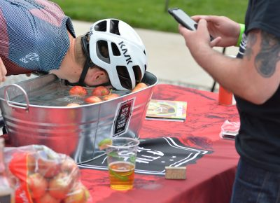 Bobbing for apples at the Mountain West Cider stop.
