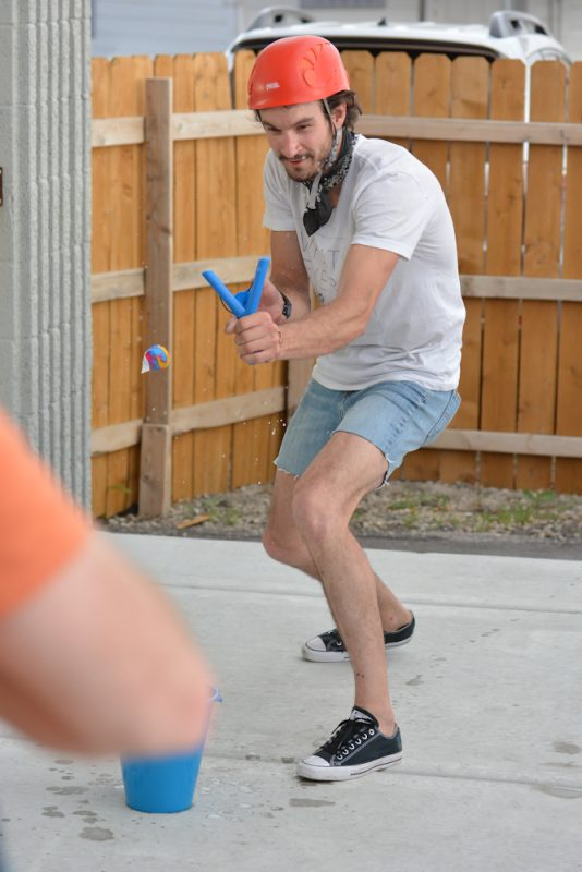 At Proper Brewing Co, racers had to fire squishy balls into a bucket with a slingshot.