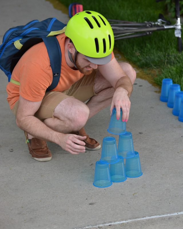 Racers had to execute perfect cup stacking at the Rio Grande Cafe stop before continuing.