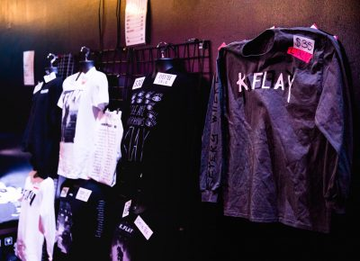 Merch for sale for K.Flay and Donna Missal.