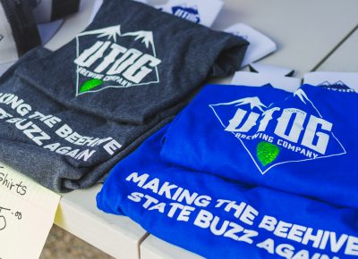 Some of the UTOG Brewing Company swag was up for purchase to get people excited about their new venture. Photo: Talyn Sherer