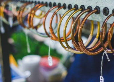 Copper coils on copper bands is just the kind of style you can expect from Peach Treats Jewelry. Photo: Talyn Sherer