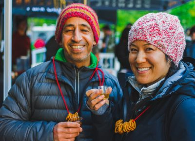 (L–R) Tony Attiet and Jessica Tso sample some of the spirits being offered by Waterpocket. Photo: Talyn Sherer