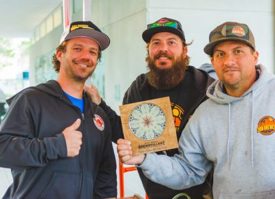 (L–R) Jay Micham, Jeremy Baxter and Frank Giammalva rightfully took home the awards for best new brew as voted for by the public. Congrats to Zion Brewery! Photo: Talyn Sherer