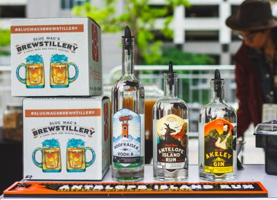 Dented Brick Distillery shows off their beautiful lineup and labels. Photo: Talyn Sherer