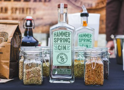 The Hammer Spring Gin surrounded by all its flavoring agents. Photo: Talyn Sherer