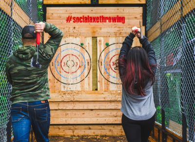 Get drunk and throw some axes with Social Axe Throwing—this practically markets itself. Photo: Talyn Sherer