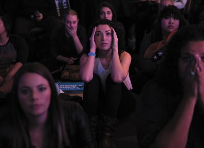 Stephanie Kravitz, middle, reacts to disappointing returns for Clinton during the Utah Democratic election party in Salt Lake City, Utah on Tuesday, November 8, 2016. Photo: Kim Raff for, The New York Times