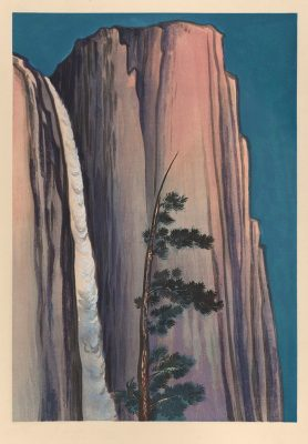 Chiura Obata (American, b. Japan, 1885–1975), Evening Glow at Yosemite Waterfall, Yosemite National Park, California, no. 23 of the World Landscape Series, 1930, color woodcut, 15 11/16 x 11 in., Achenbach Foundation for Graphic Arts, 1963.30.3126.23.