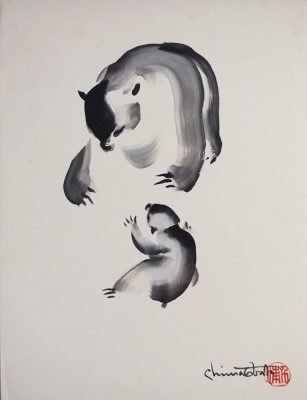 Chiura Obata, Untitled (Bears), ca. 1930s, ink on paper, 20 1/2 x 15 1/2 in., private collection.