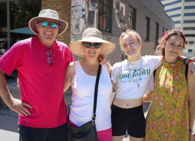 "(L-R) Ken, Megan, Hannah and Salem head to Salt Lake's Pride Festival. ""Being a student at the Salt Lake School for the Performing Arts (and a part time student at Highland High), it's easy to say that my school is welcoming to LGBTQ+ students. I think that the key to feeling comfortable within your school is finding friends and teachers that make you feel supported. If you ever feel victimized or unsafe in school because of your sexuality, I think it is imperative to reach out to your administrators and ensure that you are treated fairly. I think Highland and SLSPA do a great job of making safe spaces for students,"" Hannah said. Photo: John Barkiple"