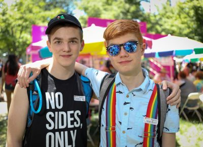 (L-R) Teo and Schuyler make the most of resource centers like Encircle in Orem and the Utah Pride Center in Salt Lake. Teo appreciates the counselling and group therapy available at Encircle, and Schuyler's oldest sister worked at the Utah Pride Center, so he knew where to find a binder when a trans friend needed help and supportive friends. Photo: John Barkiple