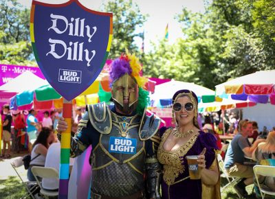 "(L-R) Kyle and Beverly brought the Dilly Dilly to the Pride Parade and the Pride Festival. ""Pride was one of the first times I realized how welcoming and accepting Salt Lake was because it showed how many people came out to gather around in support of the LGBT community and the tremendous amount of love from all different walks of life. I think there's a lot of acceptance happening in Salt Lake City. Pride's just a beautiful day, and it warms your heart,"" Beverly said. Photo: John Barkiple"