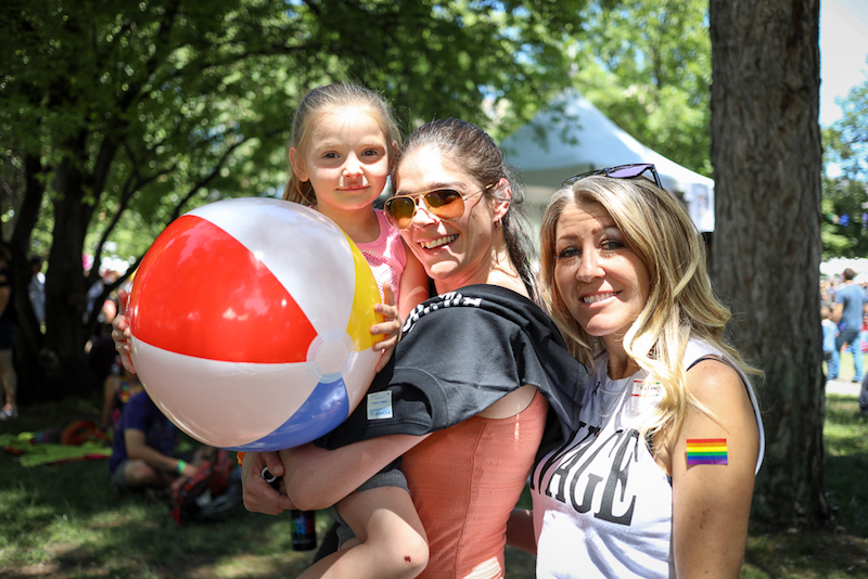 "((L-R) Love brought Payton, Tarah and Tina to the Pride Festival. ""These are my people. I was gay before I met her dad 13 years ago, and we have three kids. When we're separated, I sleep with women. Tina's my best friend,"" Tarah said. Photo: John Barkiple"