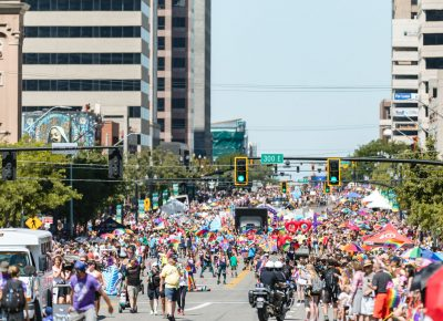 Parade lines and celebrations reach all the way down the streets. Photo: Logan Sorenson | Lmsorenson.net