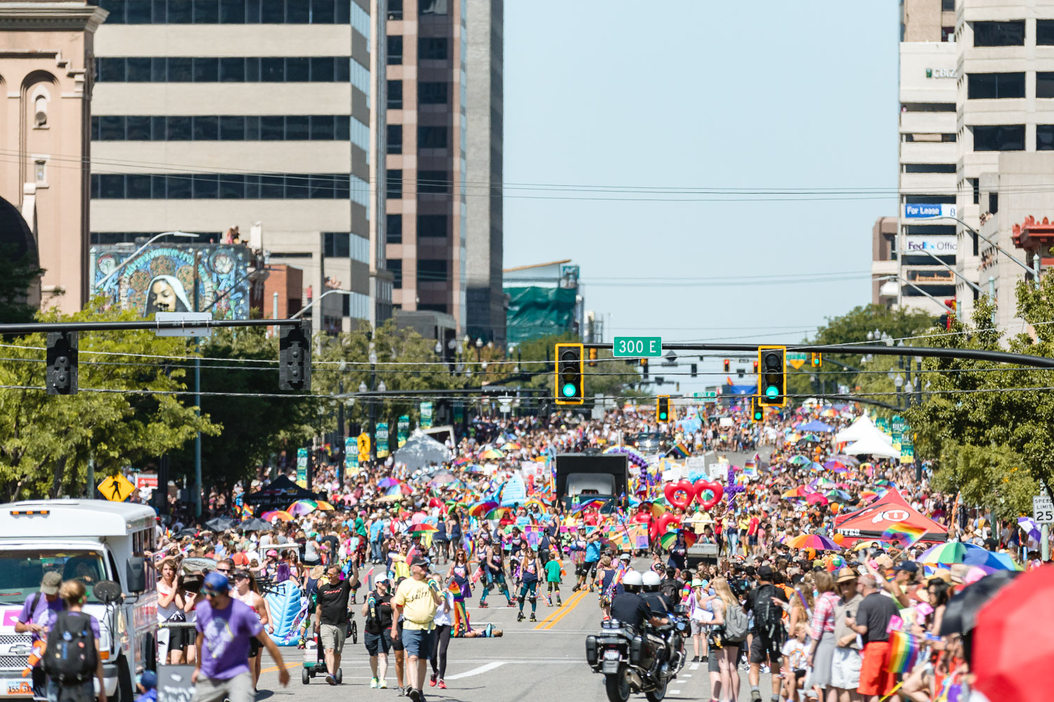Parade lines and celebrations reach all the way down the streets. Photo: Logan Sorenson | Lmsorenson.net