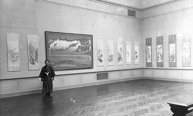Chiura Obata at His Exhibition of Paintings by Rokuichi and Chiura Obata at the California Palace of Legion of Honor, 1931, courtesy of the Obata Family.