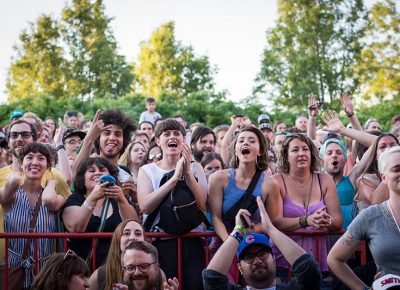 The crowd shows their excitement for Little Dragon.