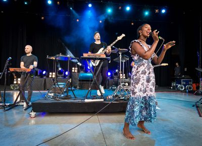 Szjerdene and Bonobo performing at the third Twilight show of the season.