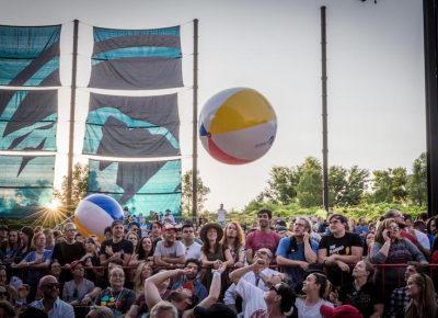 Giant beach balls bounce about the crowd. Photo: ColtonMarsalaPhotography.com