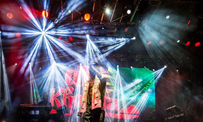 Wiz Khalifa in the bright lights.