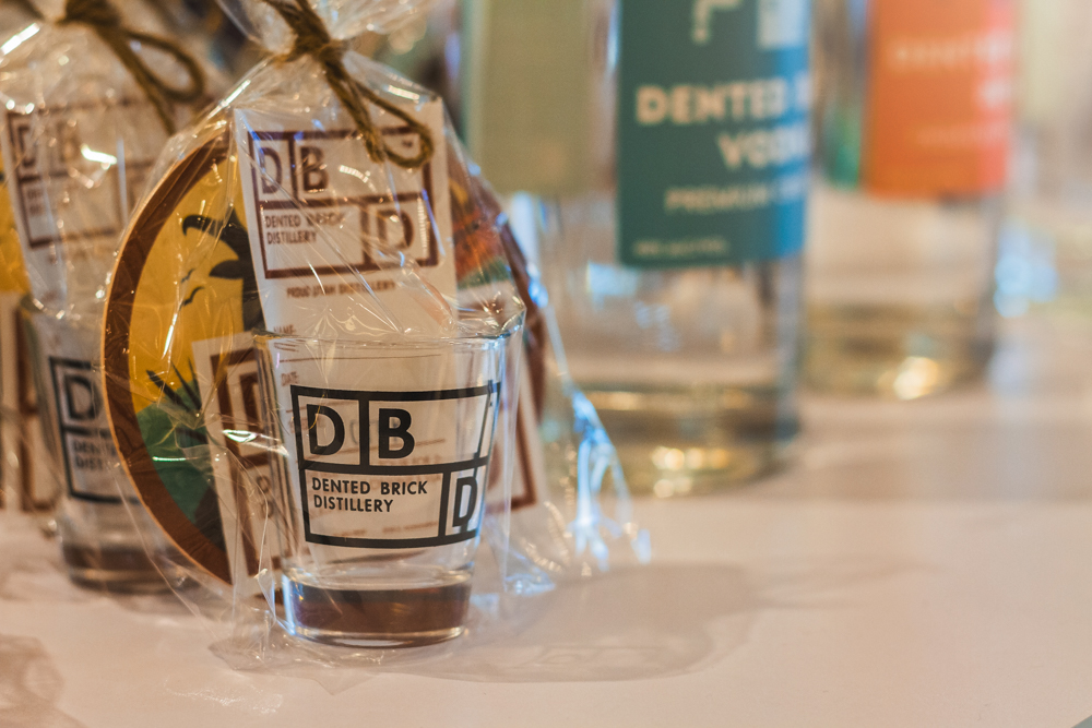 Dented Brick Distillery passes out small swag bags for your after-party pleasure. Photo: Talyn Sherer
