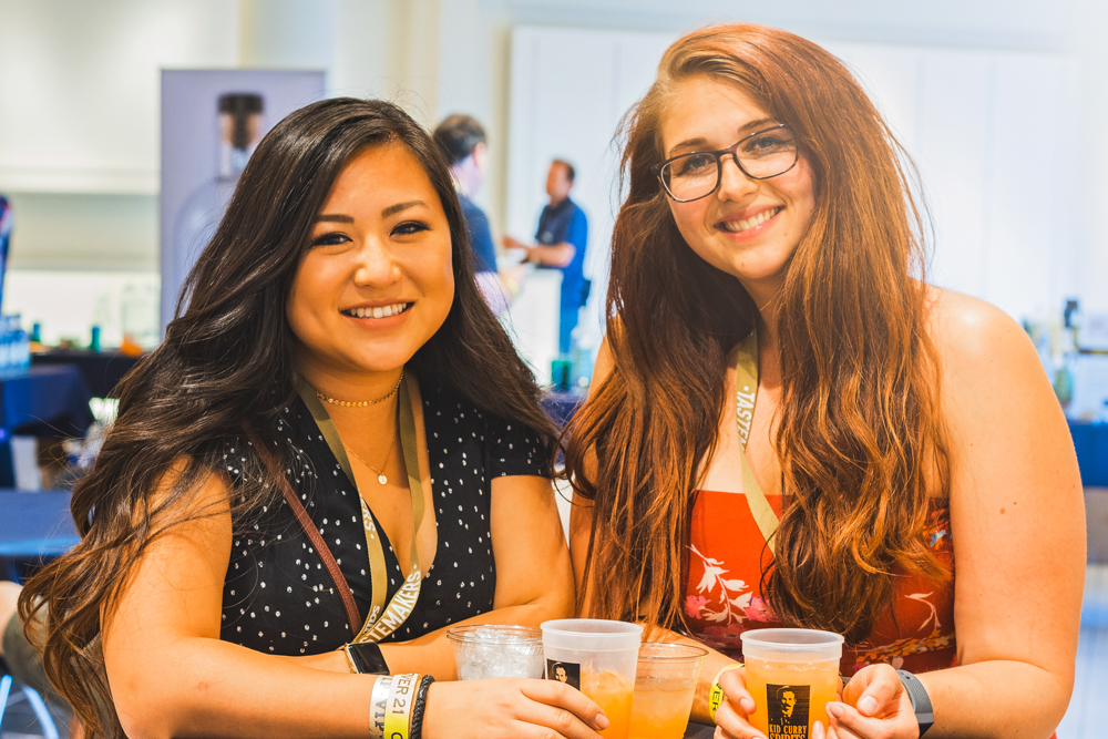 (L–R) Yelp staffers Chelsea Chen and Stephanie Backman take a short break to discover what the VIP section has to offer. Photo: Talyn Sherer
