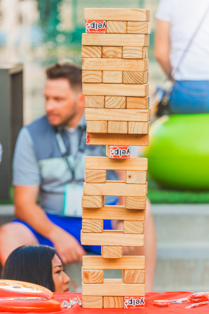 Test your skills at the giant Jenga game provided by Yelp SLC. Photo: Talyn Sherer