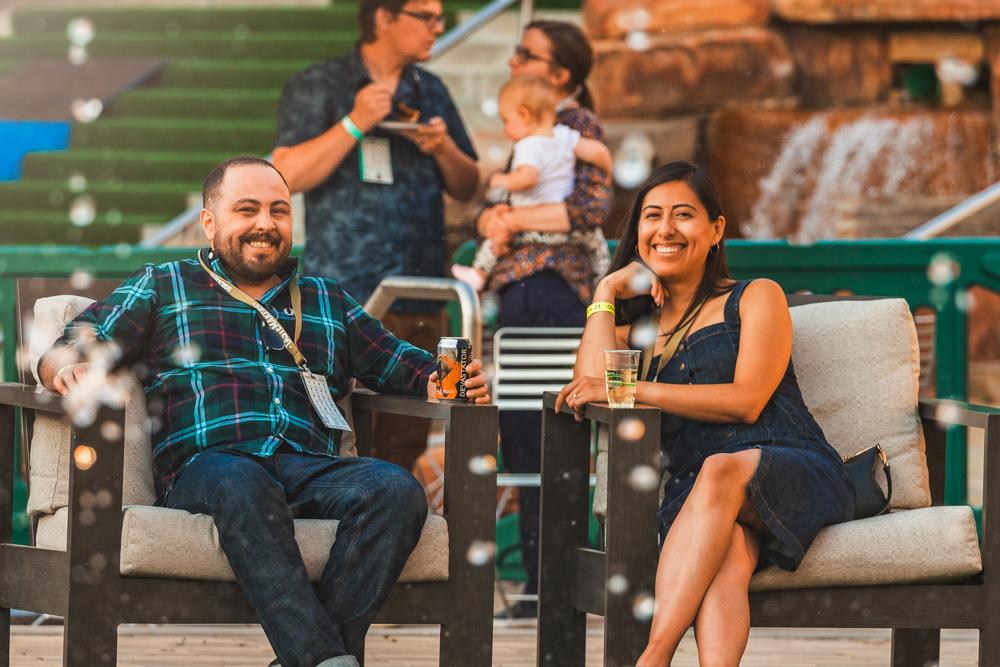 (L–R) SLUG Editor Alex Ortega enjoys a drink with his fiancée, artist Nancy Rivera. Photo: Talyn Sherer