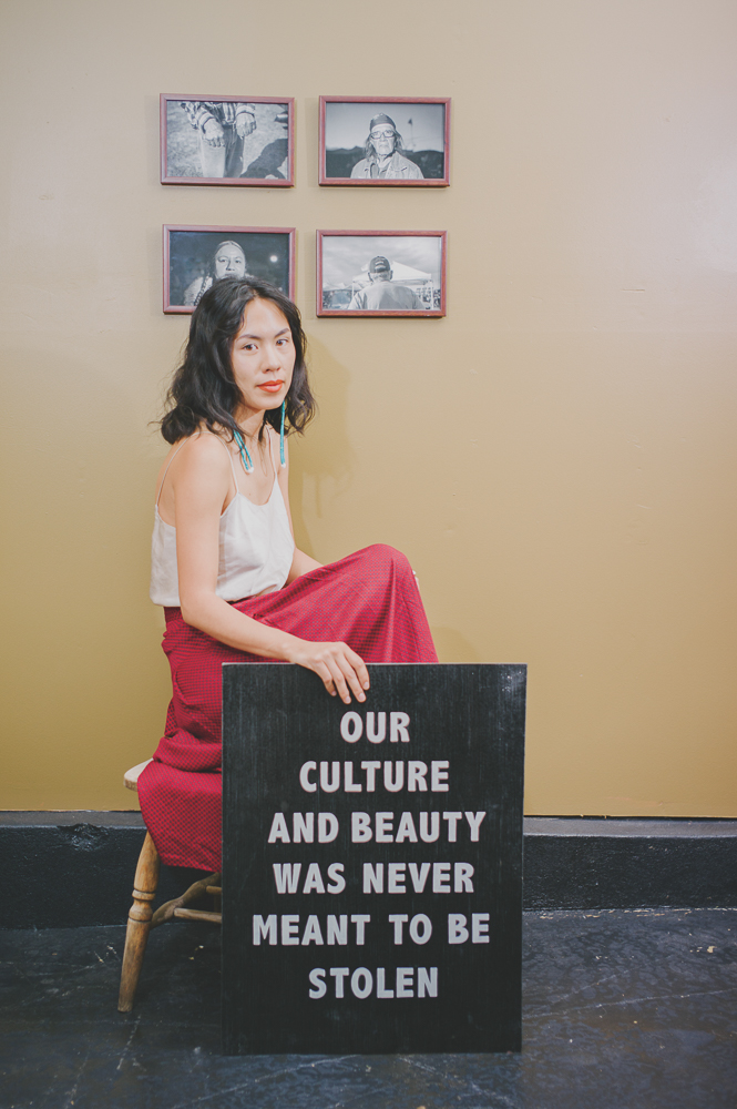 """I've never really cared about fashion very much, but I think the way you present yourself is really important,"" says Shanidiin. ""I realized that when a photographer named Tori Duhaime took my photo up at the Capitol, when Trump was visiting and dismantling Bears Ears, where five sovereign tribes had put together a proposal to protect a huge part of our origins stories and our homelands. I dressed the way that I feel most beautiful: as an Indigenous woman and with my artwork, my sign that says ""500 years of Indigenous resistance."" People responded to that. In the last six months, I'd say I've been really using that to my advantage, of showing people how beautiful Indigenous people are."" Photo: @clancycoop"