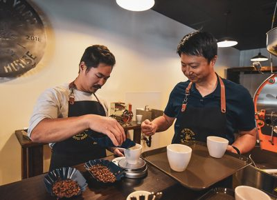 (L–R) Eugene and Rock Kim have started The Bean Yard in Sandy for high-quality, Q Grade coffee experience in Sandy.