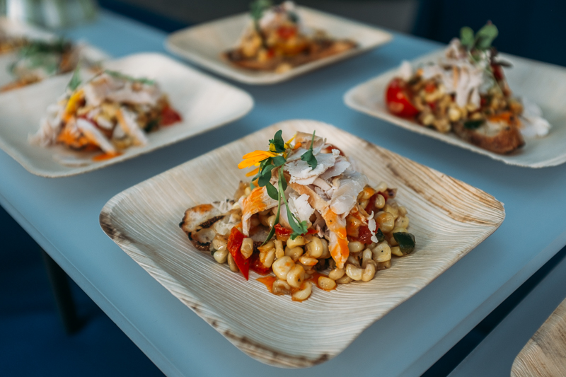 The Blended Table served a Utah corn and heirloom tomato salad with Smokey Mary's chicken served on bruschetta. Photo: @clancycoop