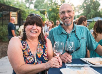 (L–R) Trish and Marc Cronan were plenty happy to be in the shade sampling Utah's best food and drink. Photo: @clancycoop