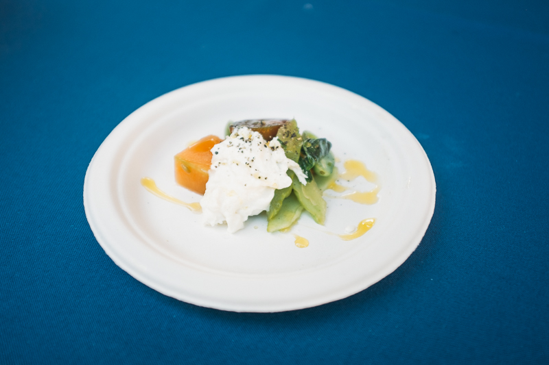 Pago served what they demurely called compressed melon, which had been sealed in a vacuum bag with local honey and water, giving it extra sweetness, alongside Armenian cucumbers with lemon juice and heirloom cherry tomatoes, basil and burrata, a buffalo milk cheese. Photo: @clancycoop