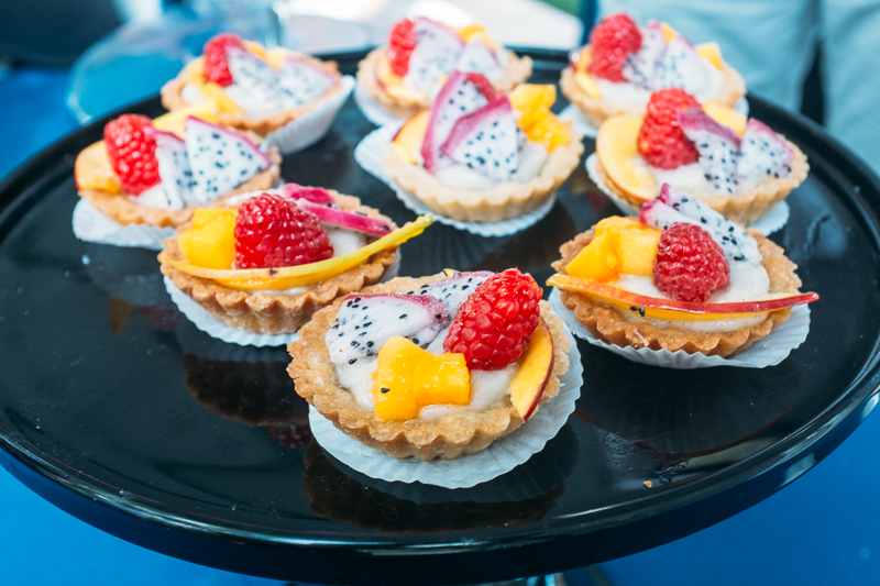 A fruit tart from 3 Cups with dragonfruit, papaya, mango, raspberry and a vegan cream filling. They also had three flavors of sorbet on hand, serving generous portions, including lemon basil with marzipan. Photo: @clancycoop