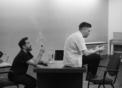 "Whit Hertford, Austin Archer in rehearsals for RIOT ACT's production of Annie Baker's ""The Aliens."" Photo by Haley Hoover"