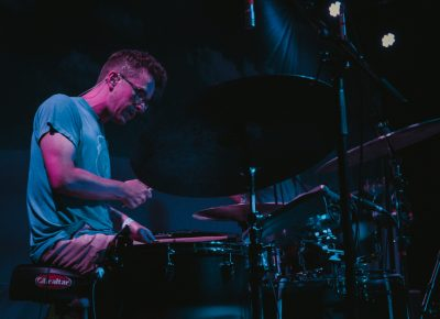 Andy Stack spotted playing drums with both hands. Photo: Matthew Hunter