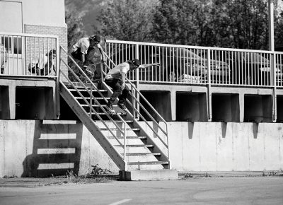 Colin Sheffield – Early Grab Board Slide – Provo, Utah. Photo: Weston Colton.