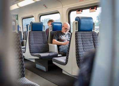 People enjoy a stress free ride on the Front Runner.