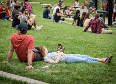 Fans chill as they wait for the next band.