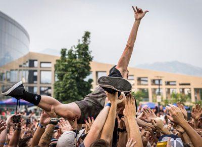 K. Bong surfs the crowd.