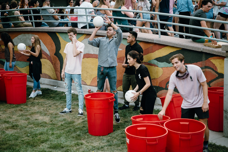 Giant beer pong was among the most creative party games available to concert-goers.