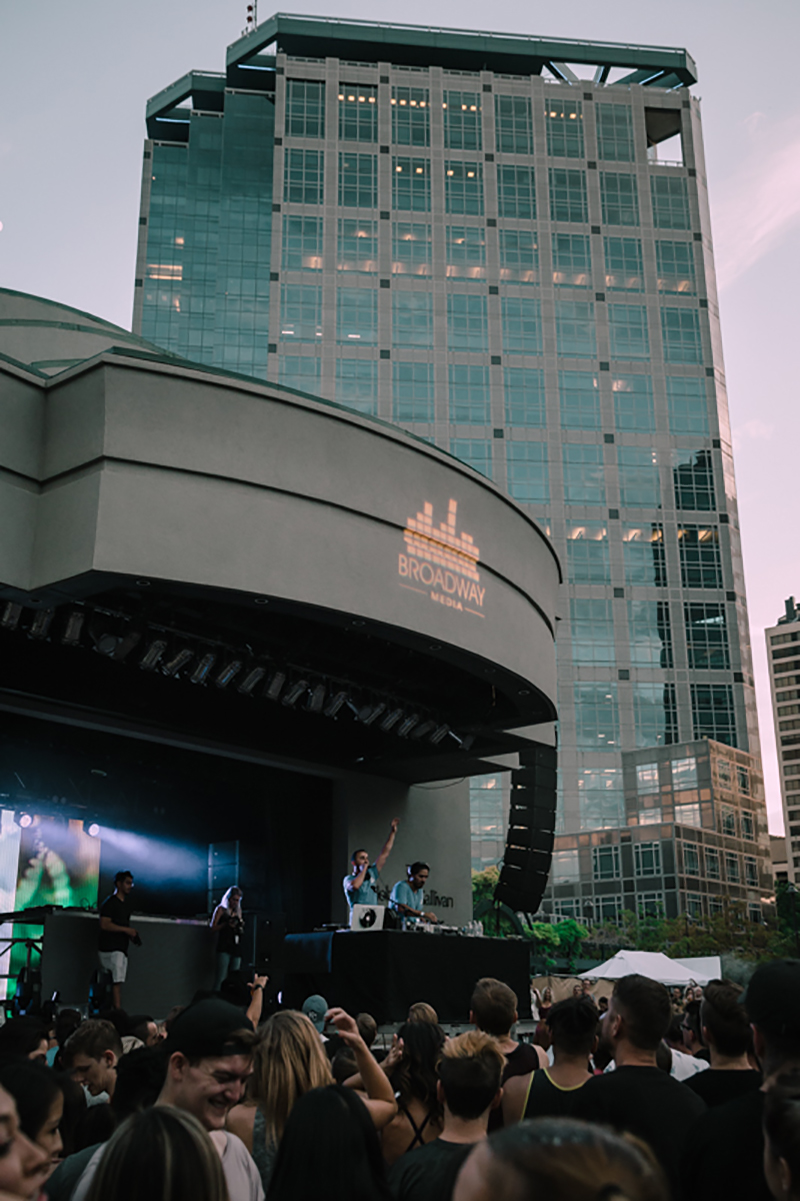 Sunset provided a vivid backdrop for the show at Gallivan Plaza.