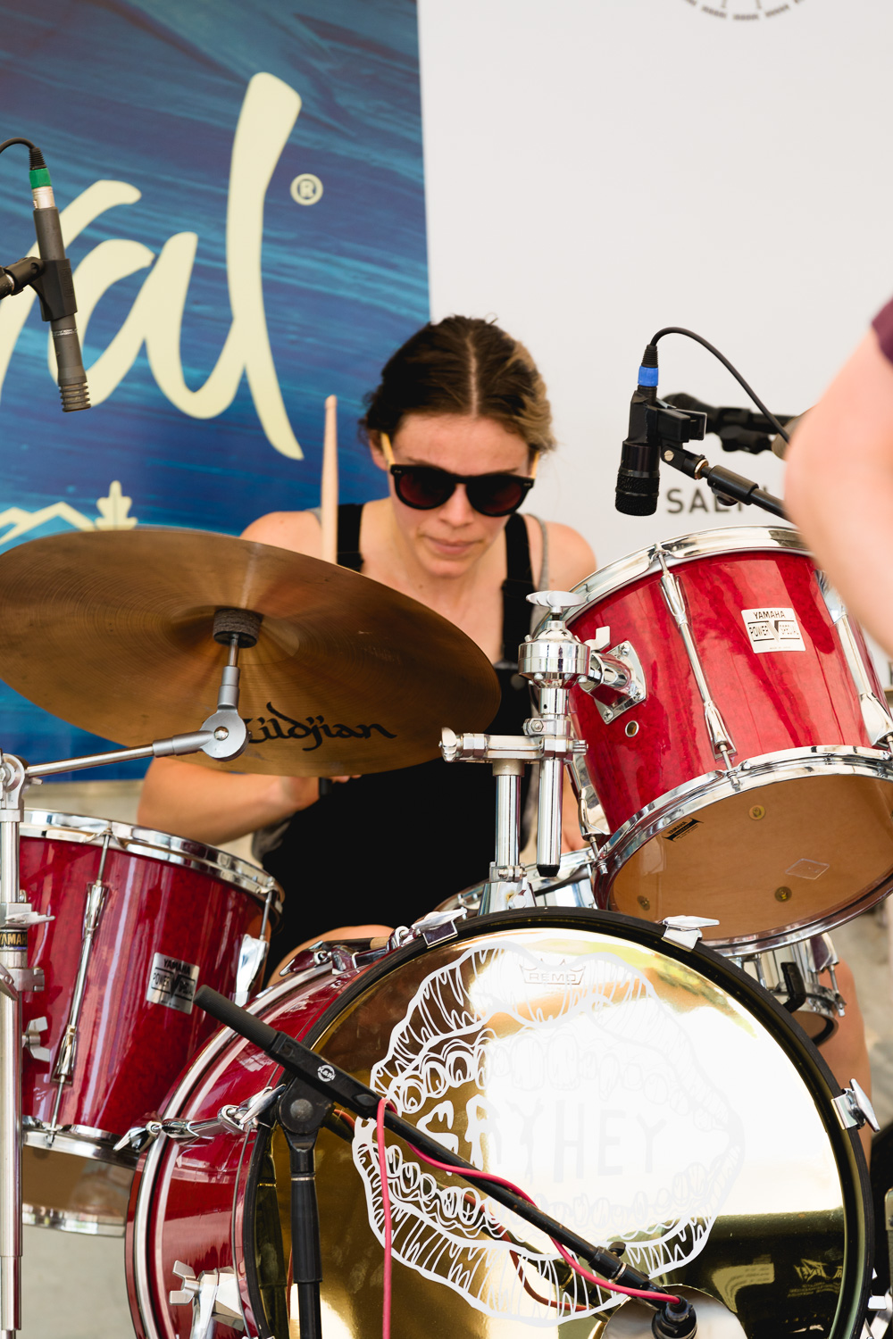 Drummer from Say Hey playing on the KRCL stage in the 10th Annual Craft Lake City DIY Festival. Photo: Lmsorenson.net